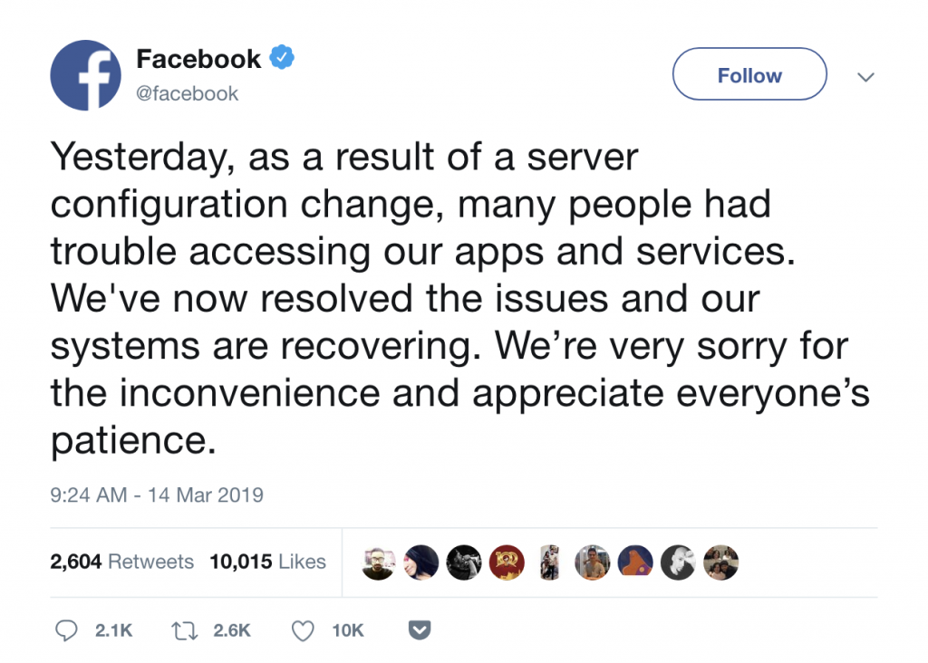 Lately in Social Media: March 2019: Facebook Outage