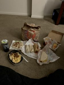 $30 worth of taco bell, including chalupas, quesadillas, nachos and burritos